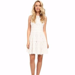 Adelyn Rae lace fit and flare dress- white